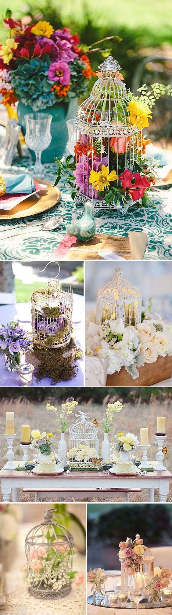 8 centros de mesa para boda con jaulas