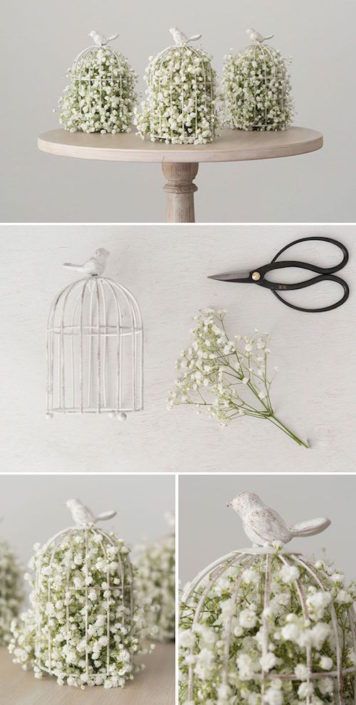 como decorar una jaula con flores para centros de mesa