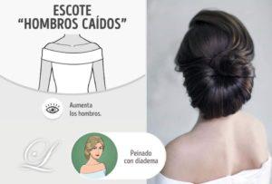 peinados para escote hombro caido