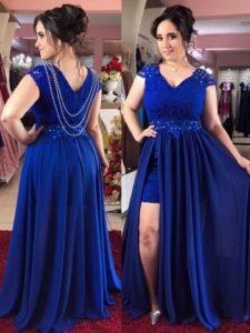 vestidos para chicas con curva en color royal blue