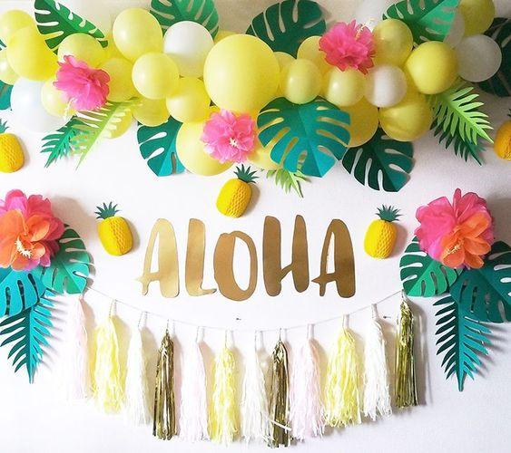 Backdrops para Fiesta tropical en tonos pastel