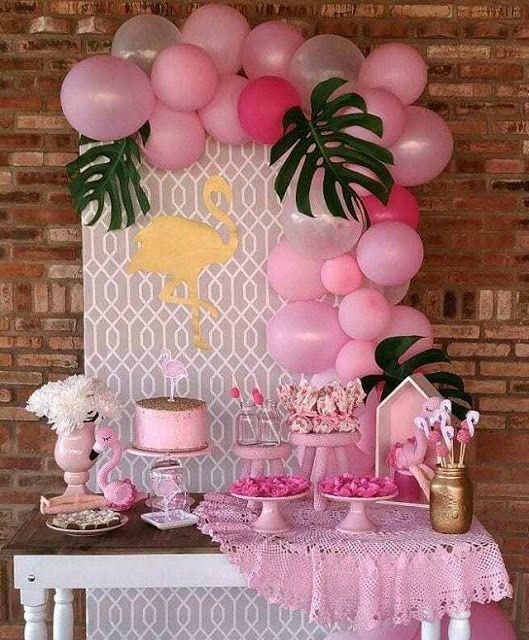 Decoracion de Fiesta tropical en tonos pastel