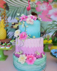 Pastel para Fiesta tropical en tonos pastel