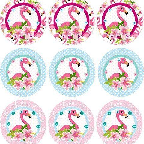 Etiquetas para recuerdos de 15 años para imprimir de flamingos