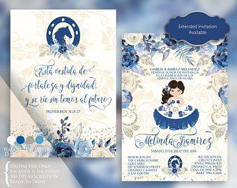 Invitaciones color azul para quince charros