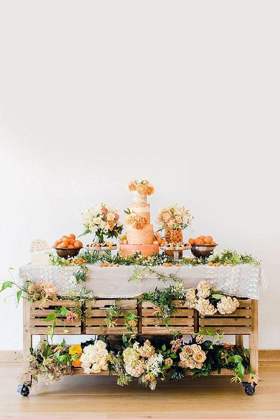 Muebles viejos para decorar una Mesa de dulces de XV