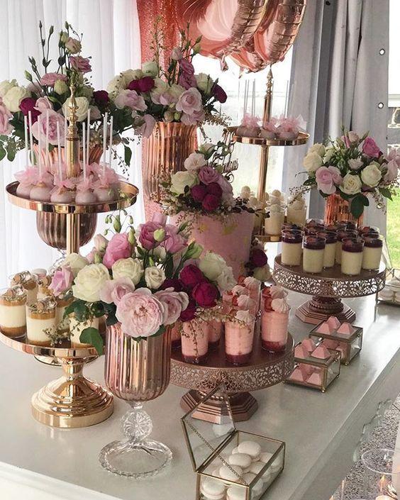 Postres modernos para decorar una hermosa Mesa de dulces de quinceañera