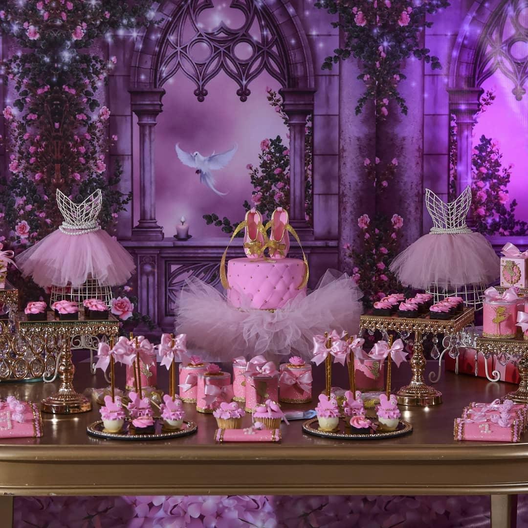 mesa del pastel para quince tema bailarina