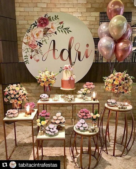 mesas de herreria para decorar la mesa del pastel en los 15 años