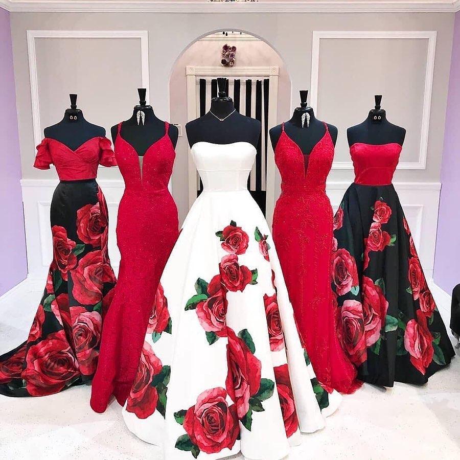 vestido de flores de quinceanera - madrinas en color rojo