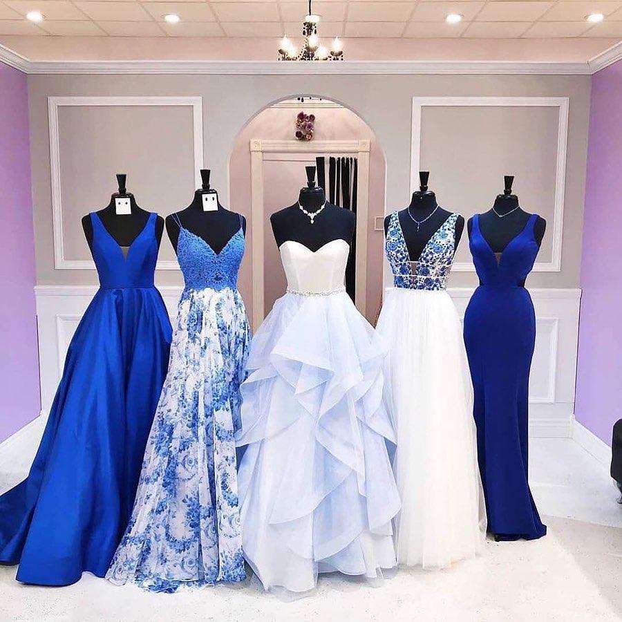 vestidos para madrinas de quinceañera en color azul