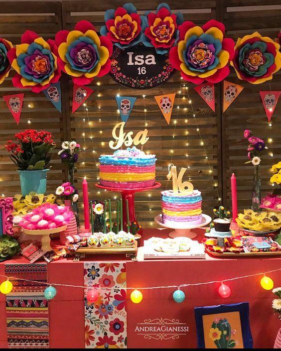 mesa de dulces para fiesta mexicana de 15