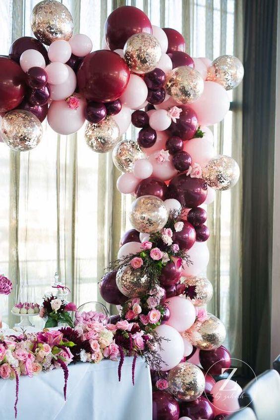 color arandano para decorar fiestas de xv anos en otoño