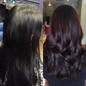 Antes y despues del cambio de color de cabello a cherry wine