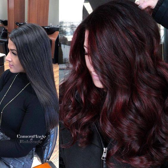 Antes y después del cambio de color de cabello a cherry wine