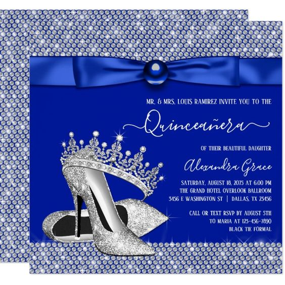 Invitaciones de XV años color del año clasic blue - Azul Clasico