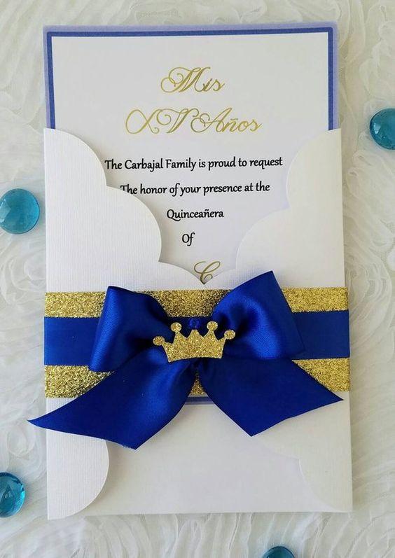 Invitaciones economicas para XV años Color Classic blue