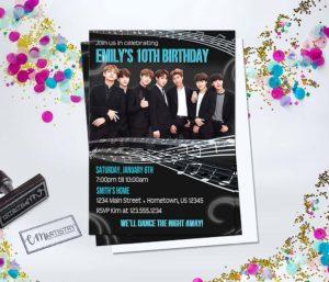 Invitaciones para un cumpleaños de bts