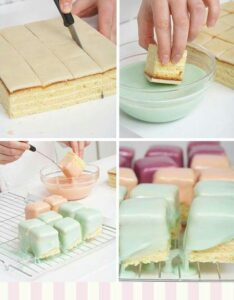 Pasteles cuadrados en paleta para quinceñeras