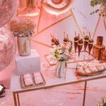 Decoración en color rose gold para 15 años
