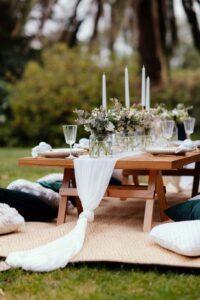 Flores naturales en quince años estilo picnic